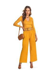 Calça Morena Rosa Pantalona Cós Alto Básica Mostarda