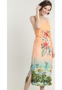 Vestido Feminino Midi Estampado Floral Com Degradê Decote Reto Alça Fina Coral