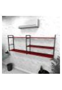Estante Industrial Escritório Aço Cor Preto 180X30X68Cm Cxlxa Cor Mdf Vermelho Modelo Ind38Vres