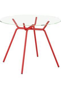 Mesa 1527 Vidro Incolor Vermelha Carraro