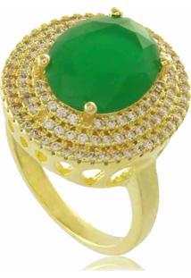 Anel Oval Verde Com Mini Zircônias Cravejadas 3Rs Semijoias Dourado