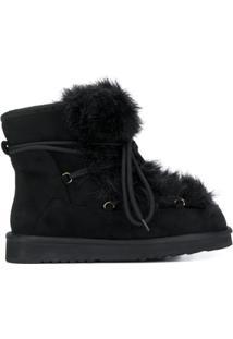 Tosca Blu Faux Fur Ankle Boots - Preto
