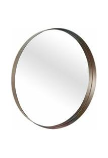 Espelho Decorativo Round Interno Marrom 50 Cm Redondo
