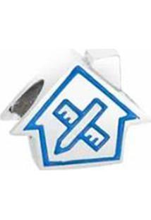 Pingente Arquitetura Banhado Á Rã³Dio- Prata & Azul- Vivara