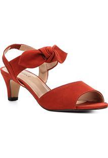 Sandália Couro Shoestock Nobuck Salto Baixo Laço Feminina - Feminino-Caramelo