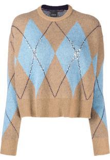 Pinko Suéter De Tricô Com Brilho - Marrom