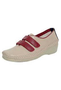Sapato Laura Prado Confort Velcro Marfim/Marinho