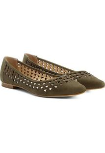 Sapatilha Couro Shoestock Bico Fino Vazada Feminina - Feminino