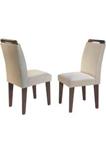 Cadeira Athenas Veludo Creme Café