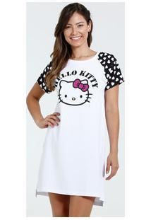 Camisola Feminina Manga Curta Estampa Coração Hello Kitty