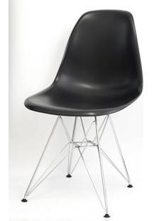 Cadeira Eames Polipropileno Preto Cromada - 9707 - Sun House