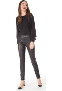Calça Slim De Leather Bolso