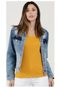 Jaqueta Feminina Jeans Stretch Estampada Disparate