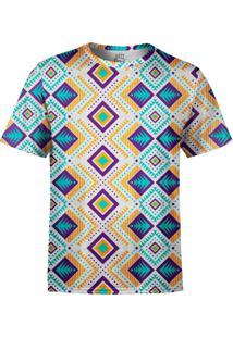 Camiseta Estampada Over Fame Tribal Asteca Multicolorido