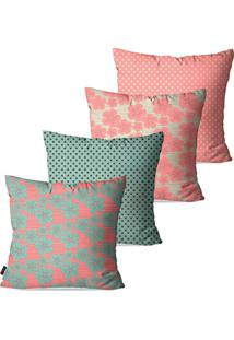 Kit Com 4 Capas Para Almofadas Decorativas Rosa Flores 45X45Cm