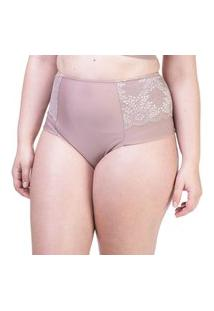Calcinha Hot Pant Lateral Dupla Renda Nozes - 534.383 Marcyn Lingerie Alta Bege