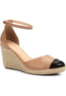 Sandália Anabela Shoestock Matelassê Corda Feminina - Feminino-Marrom+Preto