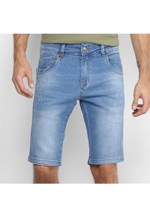 Bermuda Jeans Rock & Soda Estonada Clara Puídos Masculina - Masculino