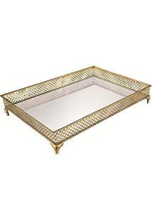 Bandeja Em Metal Com Espelho, Moas, Dourada, 8.5 X 33 X 45.5 Cm