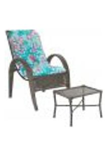 Jogo Cadeira 1Un E Mesa P/ Jardim Edicula Varanda Descanso Trama Napoli Plus Pedra Ferro A22