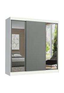 Guarda-Roupa Casal Madesa Reno 3 Portas De Correr Com Espelhos Branco/Cinza Cinza