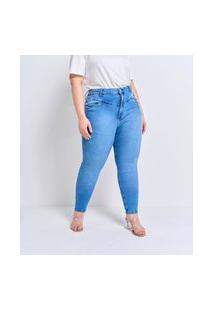 Calça Jeans Skinny Lisa Com Pala Enviesada Curve E Plus Size Azul