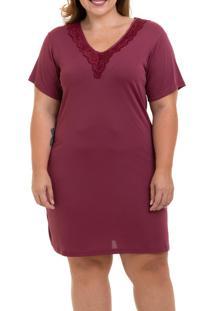 Camisola Curta Com Renda Liganete Sepie (1001-Pl) Plus Size - Vinho