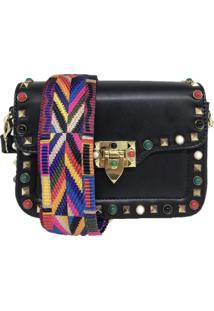 Bolsa Casual Transversal Alça Colorida Sys Fashion 831617 Preto
