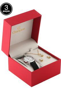 Kit 3 Pçs Relógio Champion Cn28036A Preto/Dourado