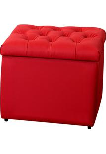 Puff Baú Decorativo Corino Captonê 273 Lymdecor Vermelho
