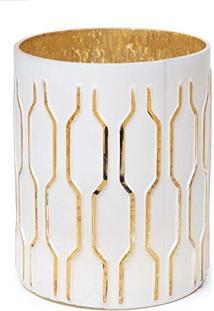 Castiçal Porta Vela Decoração Natal Listras 14Cm Dourado