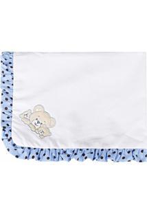 Manta Enxoval Piquet Padroeira Baby Família Urso Azul