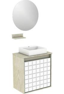 Gabinete Para Banheiro Com Lavatório E Espelheira Carol 50X30Cm Ártico Darabas