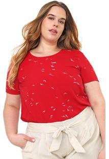 Blusa Lnd Lunender Mais Mulher Plus Estampada Vermelha/Branca