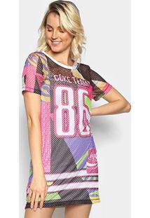 Vestido T-Shirt Coca-Cola Tela Coke Team 86 - Feminino-Rosa Escuro+Branco