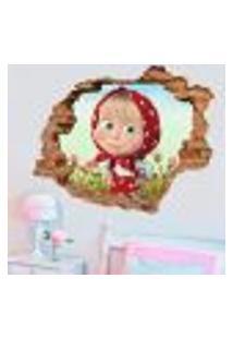 Adesivo De Parede Buraco Falso 3D Infantil Masha 2 - P 45X55Cm