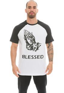 Camiseta Raglan The Garage Custom Tees Blessed Branca