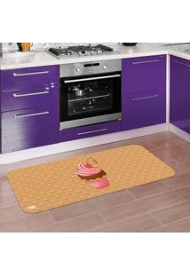 Tapete De Cozinha Mdecore Cupcake Marrom 40X120Cm