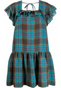 Pushbutton Vestido Evasê Xadrez - Azul