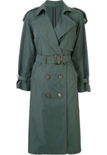 Le Ciel Bleu Trench Coat Com Cinto E Abotoamento Duplo - Verde