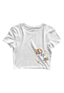 Blusa Blusinha Feminina Cropped Tshirt Camiseta Unicórnio Lateral Branco