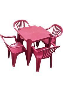Conjunto Mesa 4 Cadeiras Poltrona Vinho 5 Jogos Antares