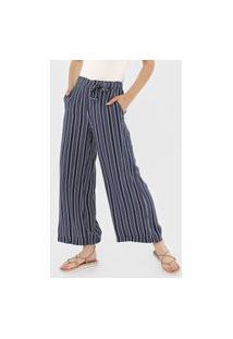 Calça Roxy Pantalona Waterfall Light Azul-Marinho