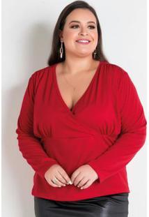 Blusa Vermelha Transpassada Plus Size