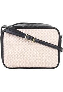 Bolsa Dergham Mini Bag Palha Feminina - Feminino-Preto+Areia