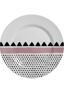 Prato De Sobremesa Alleanza Geométrica Cerâmica 19,5Cm