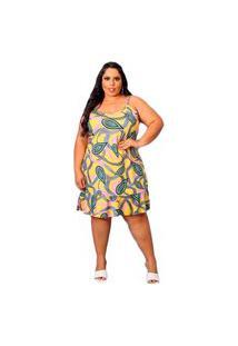 Vestido Plus Size Soltinho Feminino Babado Verão Amarelo