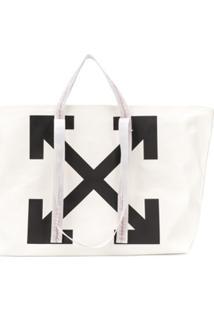Off-White Bolsa Tote Com Estampa De Logo - Branco
