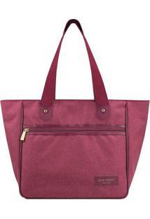 Bolsa Shopper Com Recortes- Bordô- 28,5X30X15Cm-Jacki Design