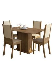 Conjunto Sala De Jantar Rita Madesa Mesa Tampo De Madeira Com 4 Cadeiras Rustic/Crema/Pérola Rustic/Crema/Pérola